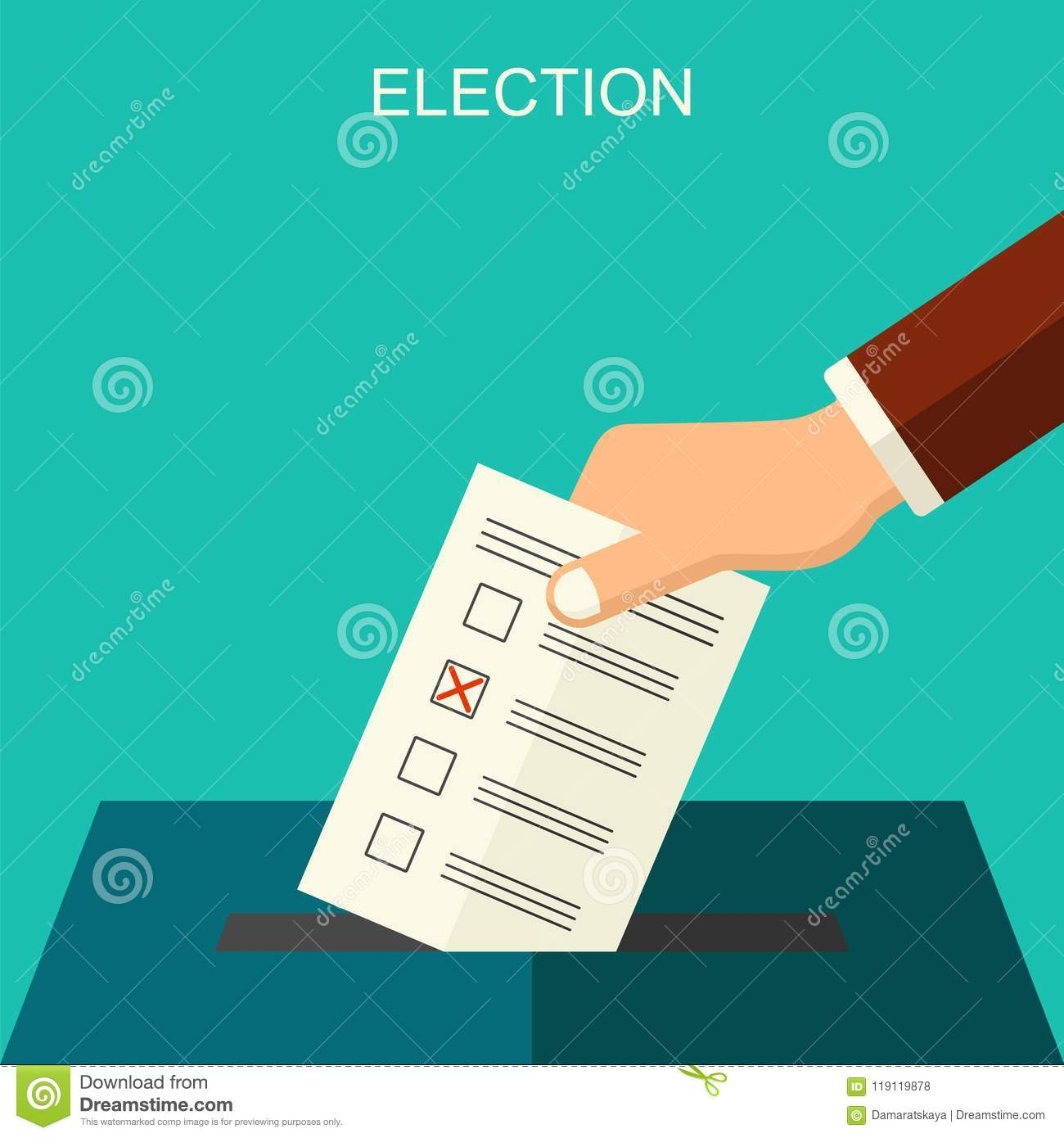 Elections and voting concept vector flat style background. Illustration for political campaign flyer, leaflets and websites.