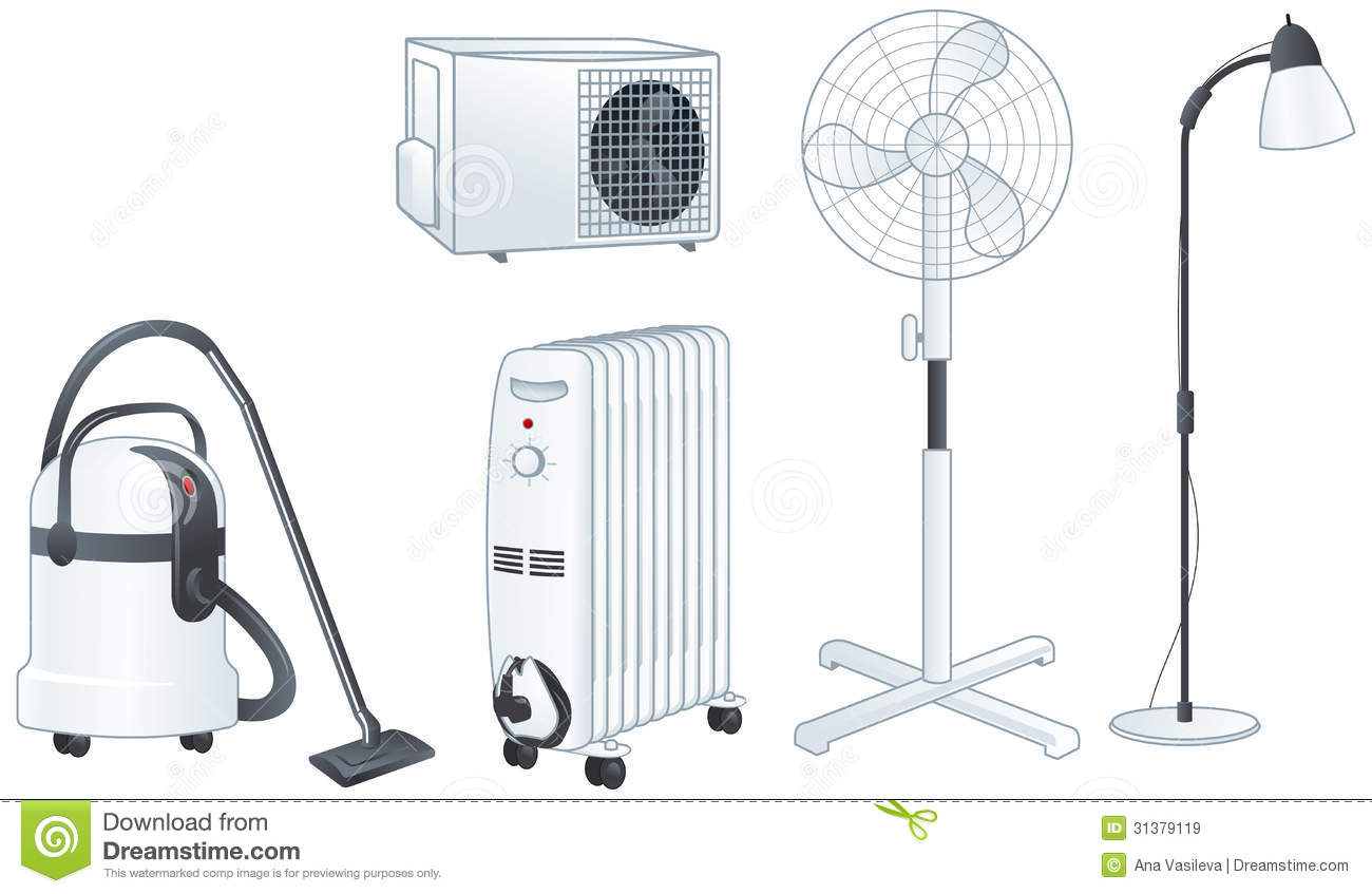#85A922 Electric Appliances Set Vector Illustration Royalty Free  Recommended 10347 Air Conditioner Illustration pics with 1300x847 px on helpvideos.info - Air Conditioners, Air Coolers and more