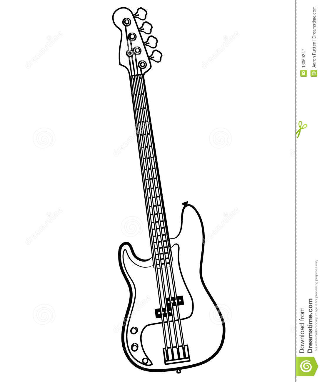 Electric Bass Guitar Line Art Vector Illustration Stock Vector