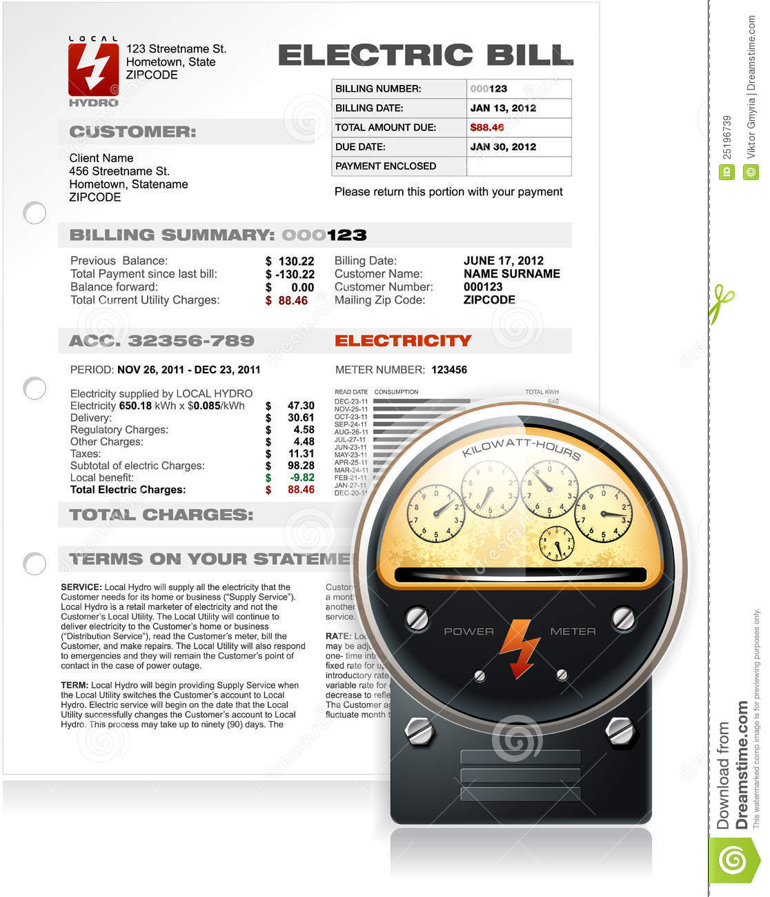 Electric Bill With Electric Counter Vector Stock Vector