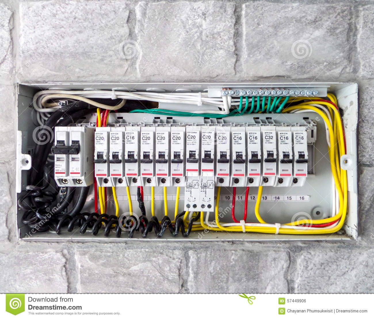 Electric Box Stock Photo Image Of Light Close Enclosure 57449906 Electrical Wiring In The Home Circuit Breaker Volt Fuse