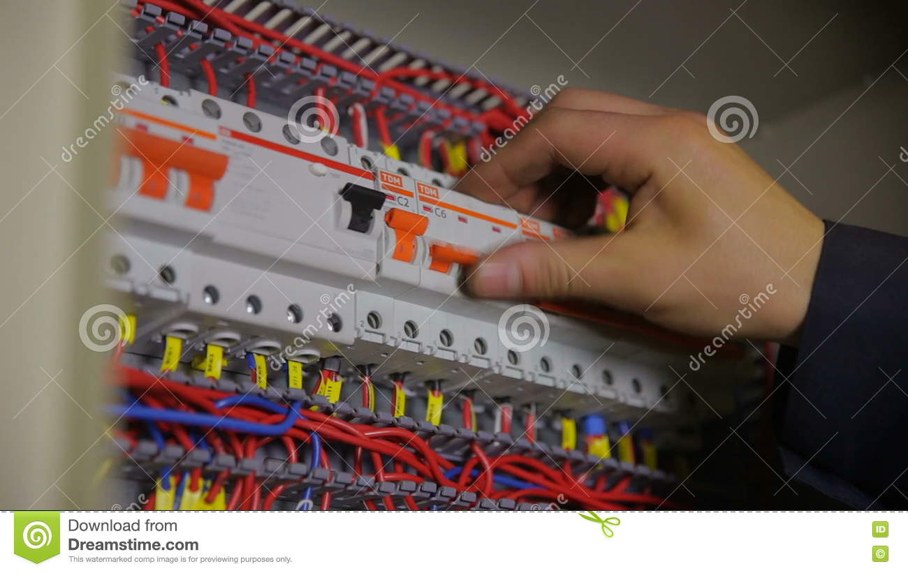 Electric Breaker Box Electrician Testing And Switching Fuse Have A Does In Stock Footage Video Of Cycle 80259286