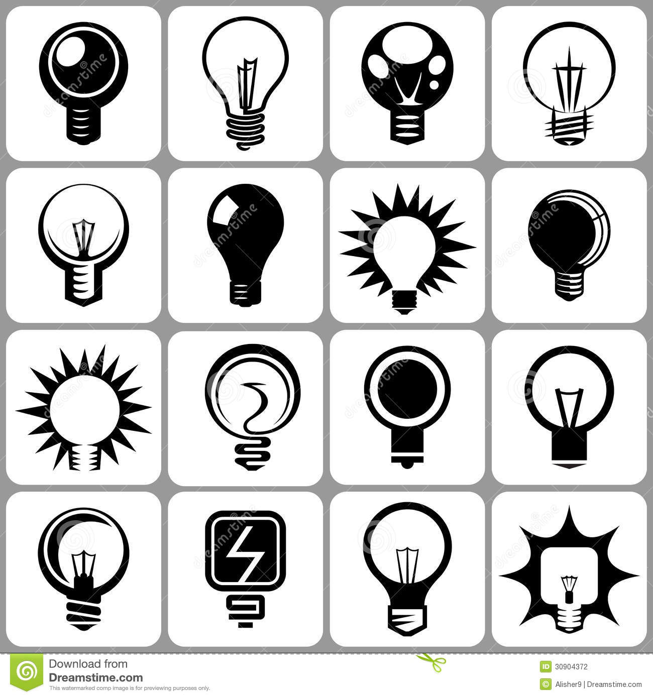 Electric Bulb Icons Set stock vector. Illustration of creative ...