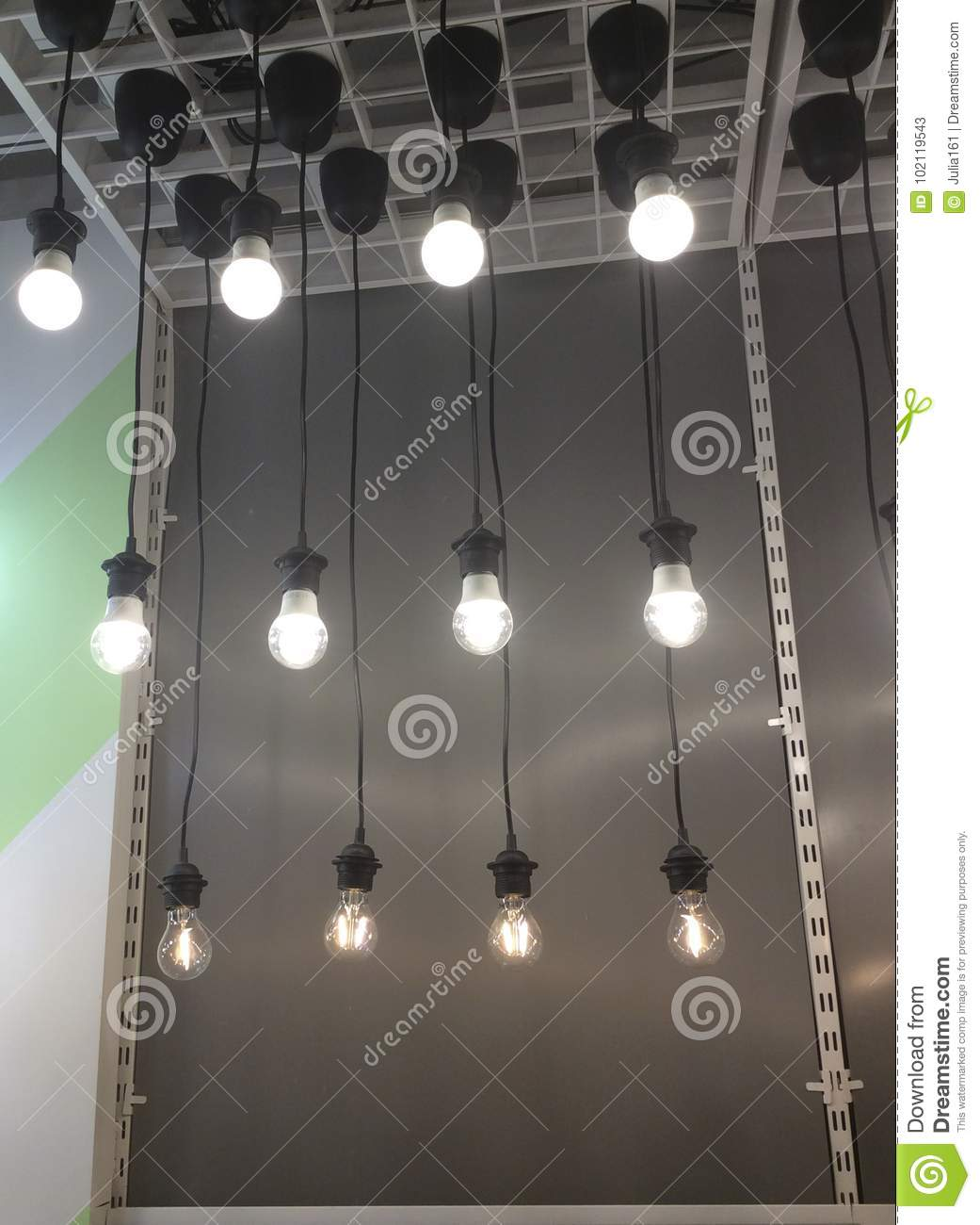 Electric Bulb Lamps In Ikea Shop Editorial Stock Photo Image Of