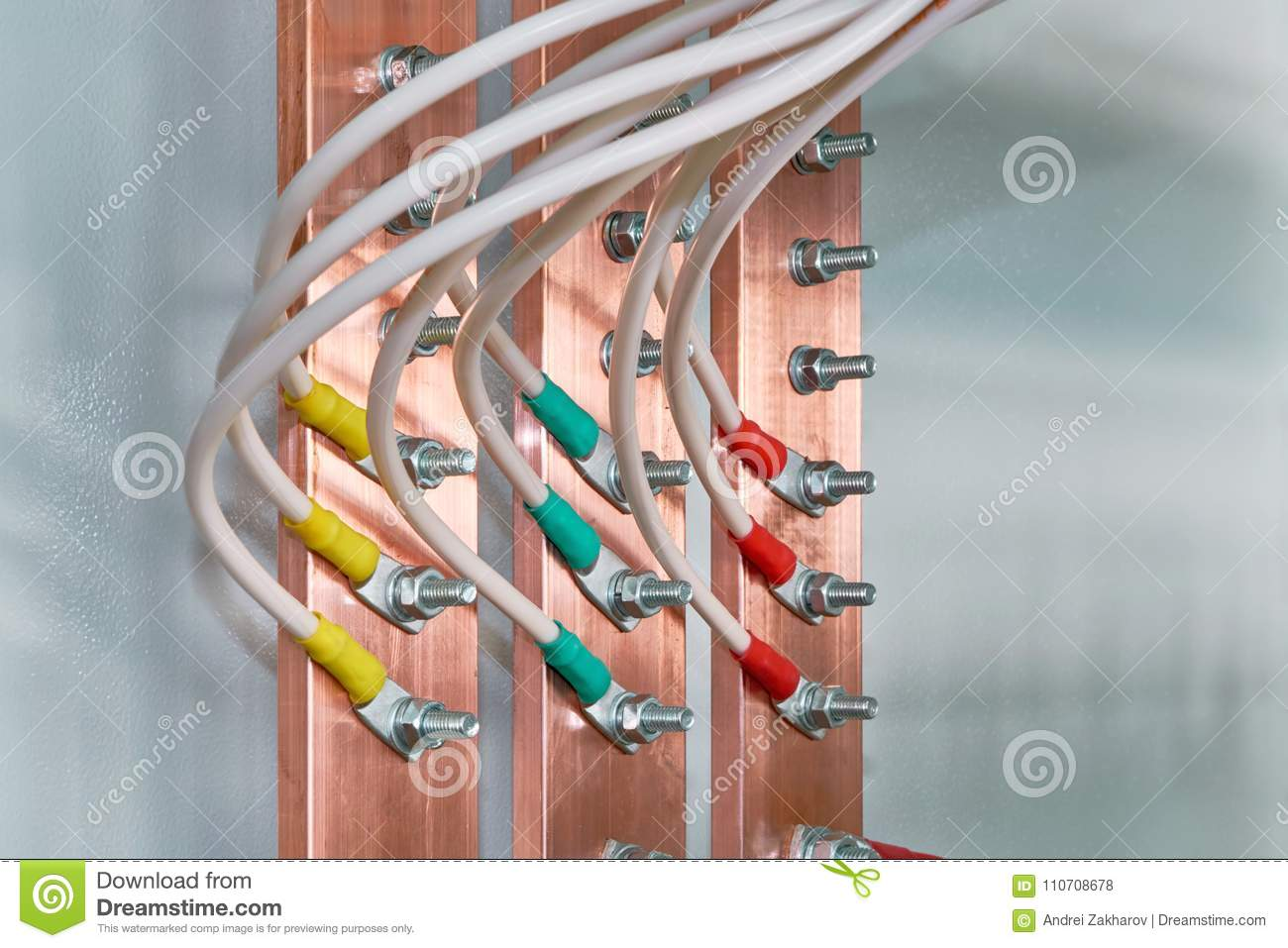 Electric Bus Bars Connected To It By Wires Or Cables Stock Photo C House Wiring