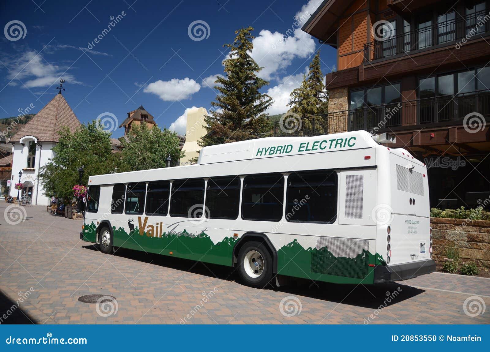 electric bus in vail, colorado editorial image - image of hybrid
