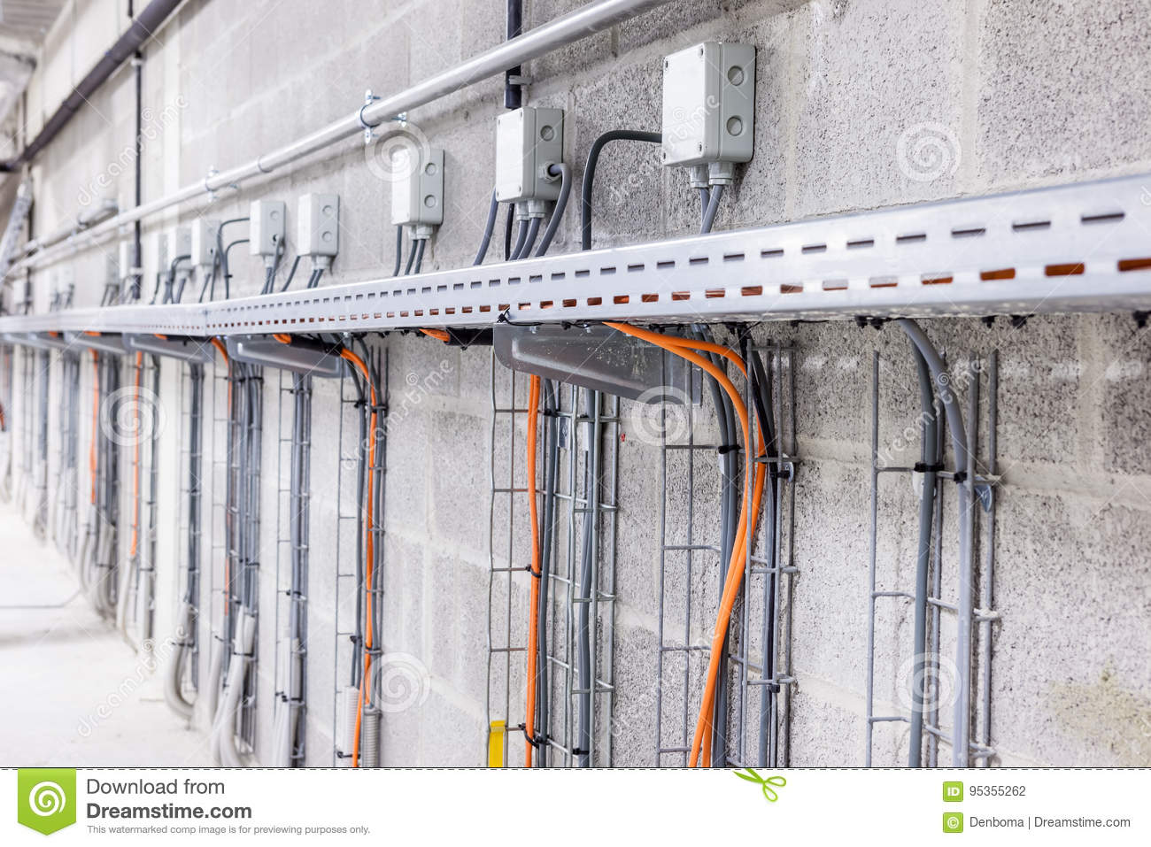 Electric cable duct stock photo. Image of architecture - 95355262