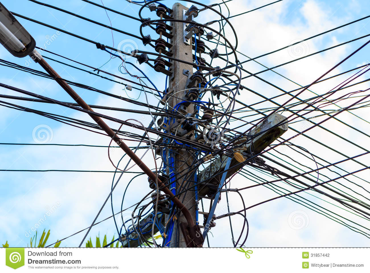 Electric Cable On Electricity Post Stock Photo - Image: 31857442
