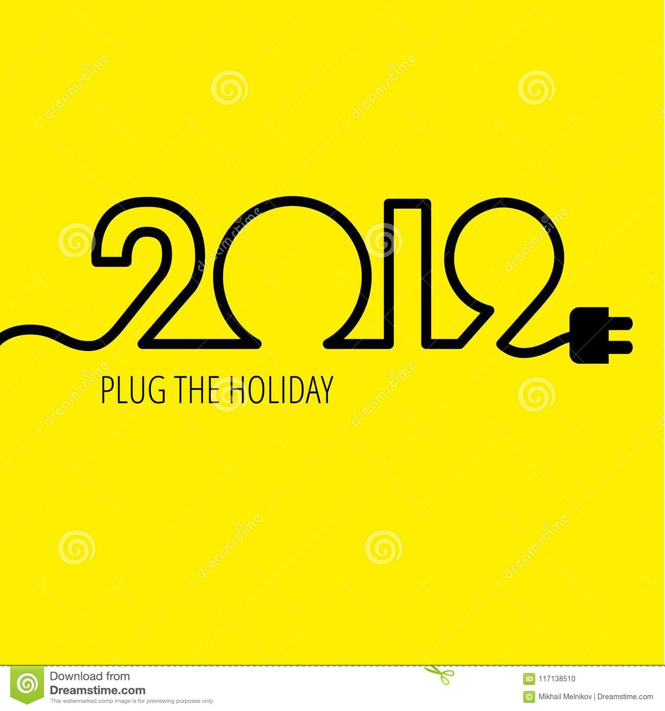 Electric cable in the form of numbers 2019