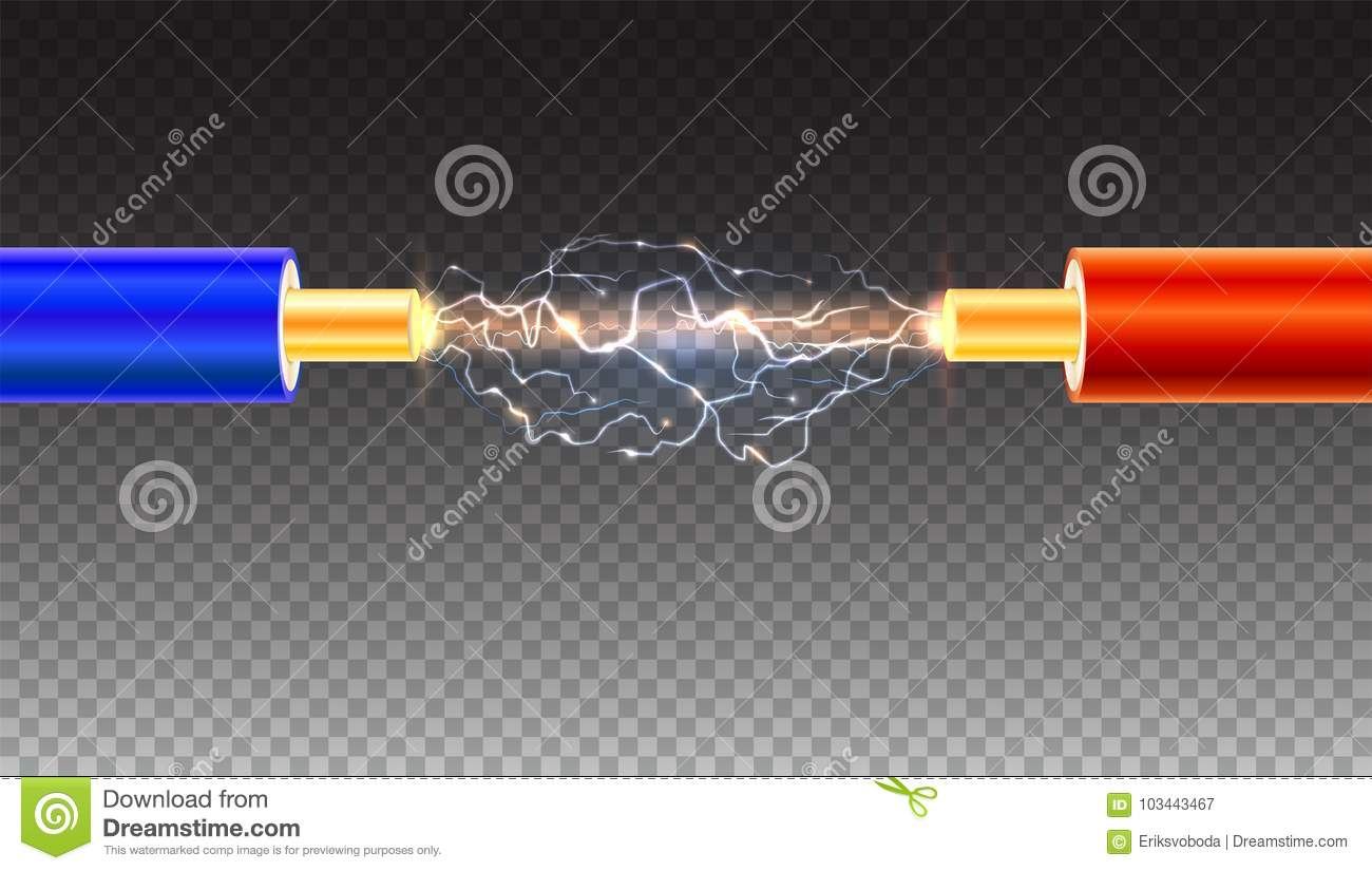 Electric Cable With Sparks On Transparent Background. Copper ...