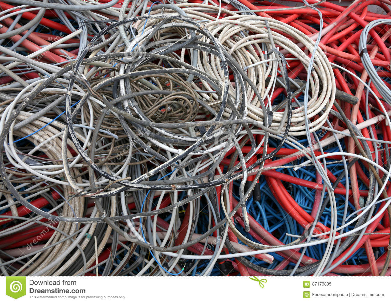 Electric Cables Of Many Colours For The Recycling Of Copper Stock ...