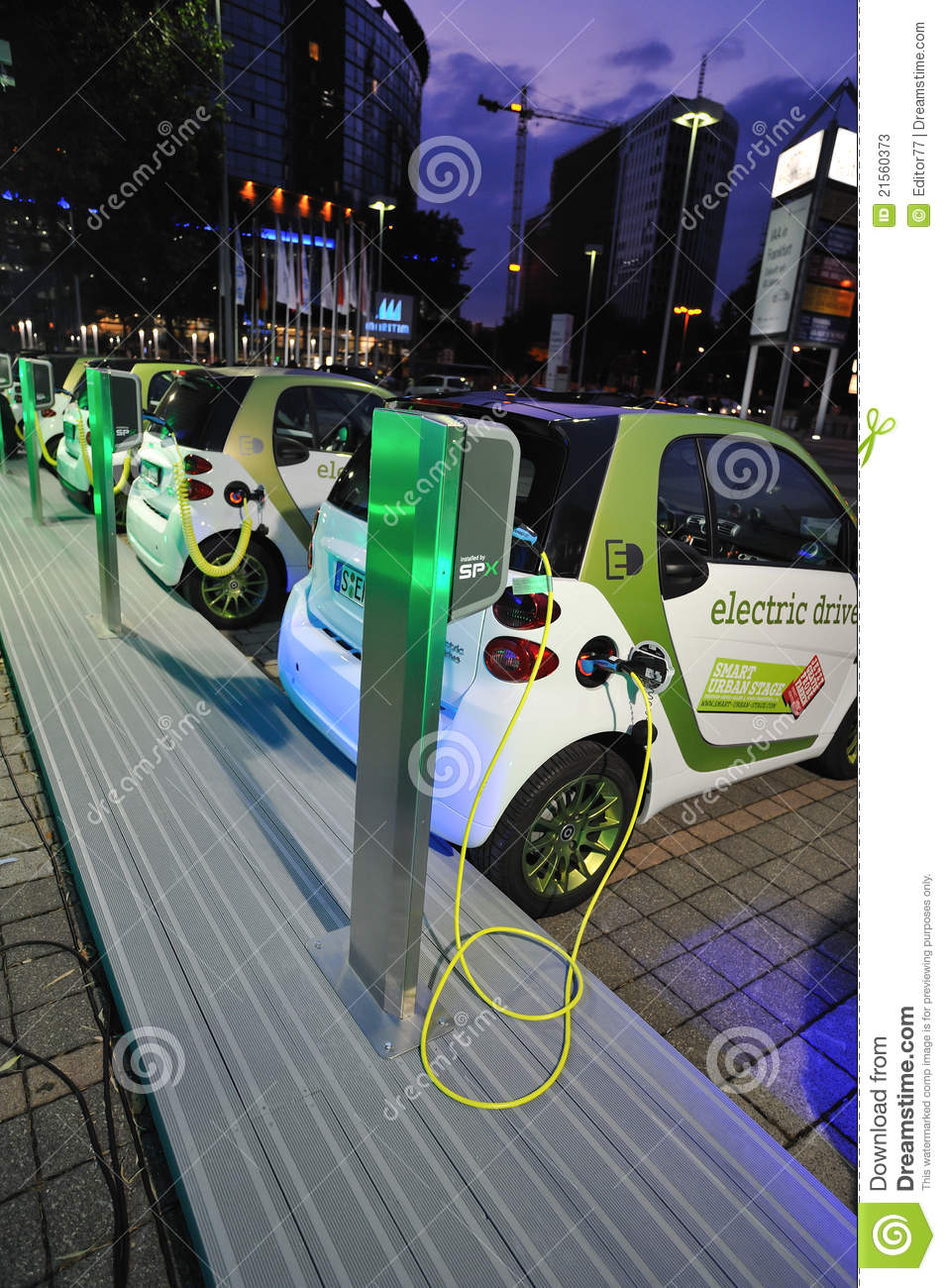 Electric mini cars at charging station