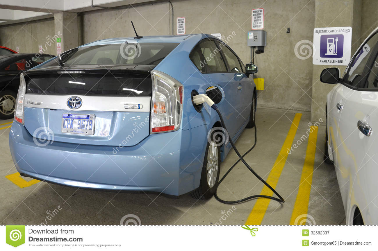 Electric Car Charging At Charging Station Editorial Photography