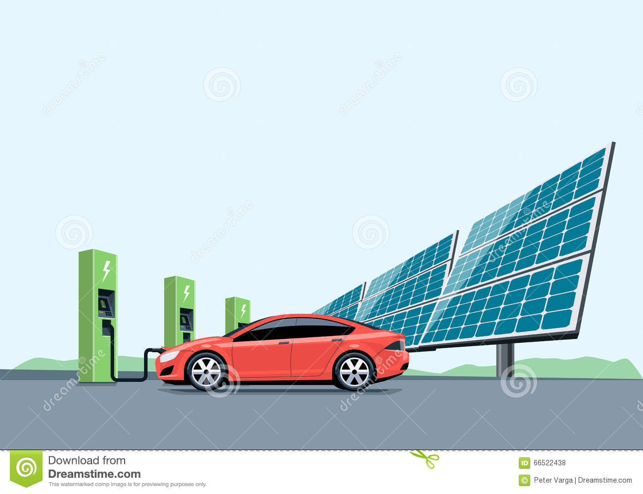 Electric Car Charging At The Charging Station In Front Of The