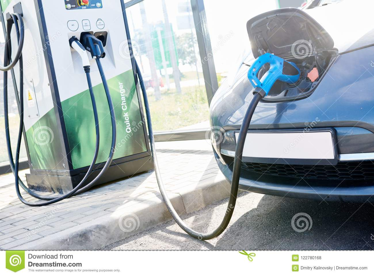 Electric car charging. Ecological automobile