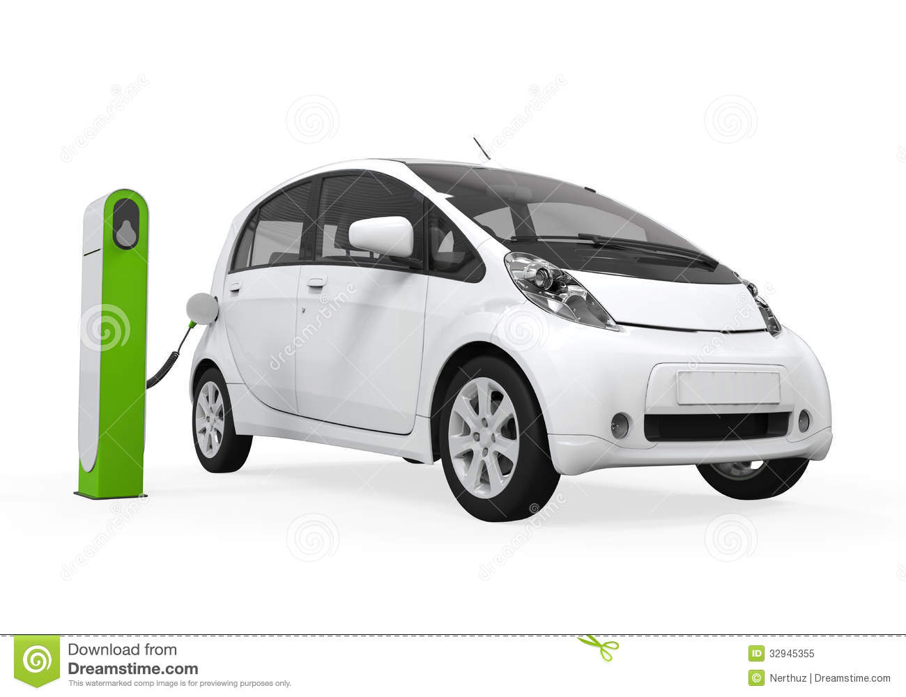 Electric Car In Charging Station Stock Illustration
