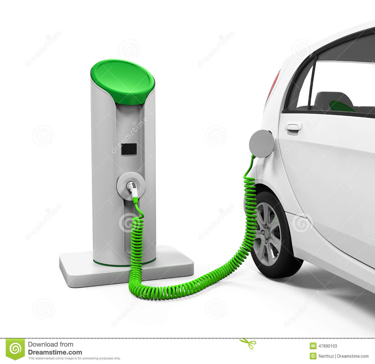 Electric Car In Charging Station Stock Illustration Image