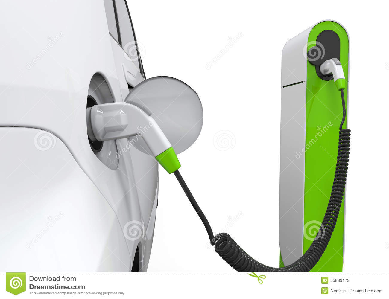 electric car in charging station stock photos image. Black Bedroom Furniture Sets. Home Design Ideas