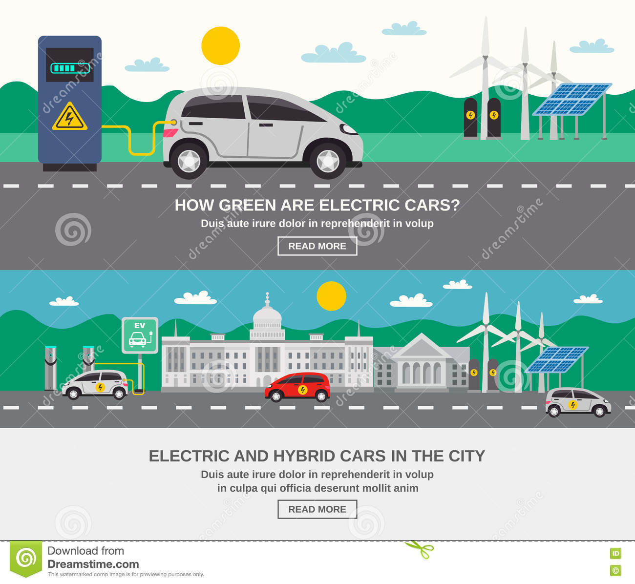 Electric Car City Flat Banners Stock Vector Image