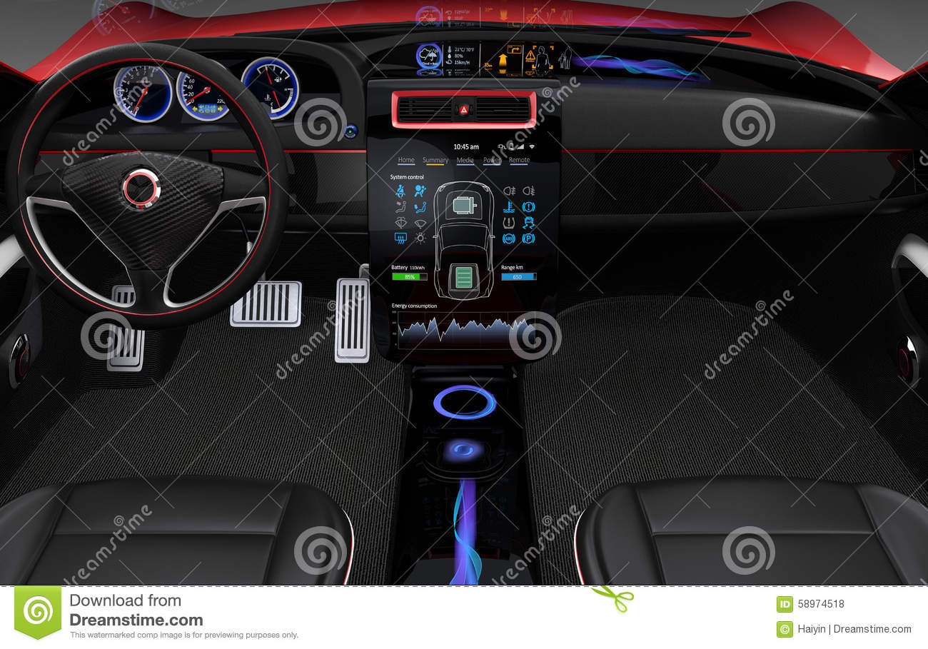 Electric Vehicle Center Display Interface Concept Stock
