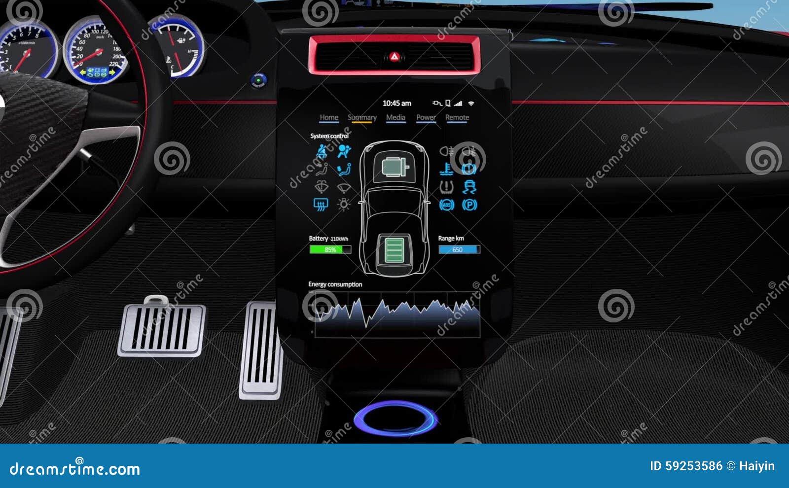 Electric Car Multimedia Interface Design Concept Stock Footage