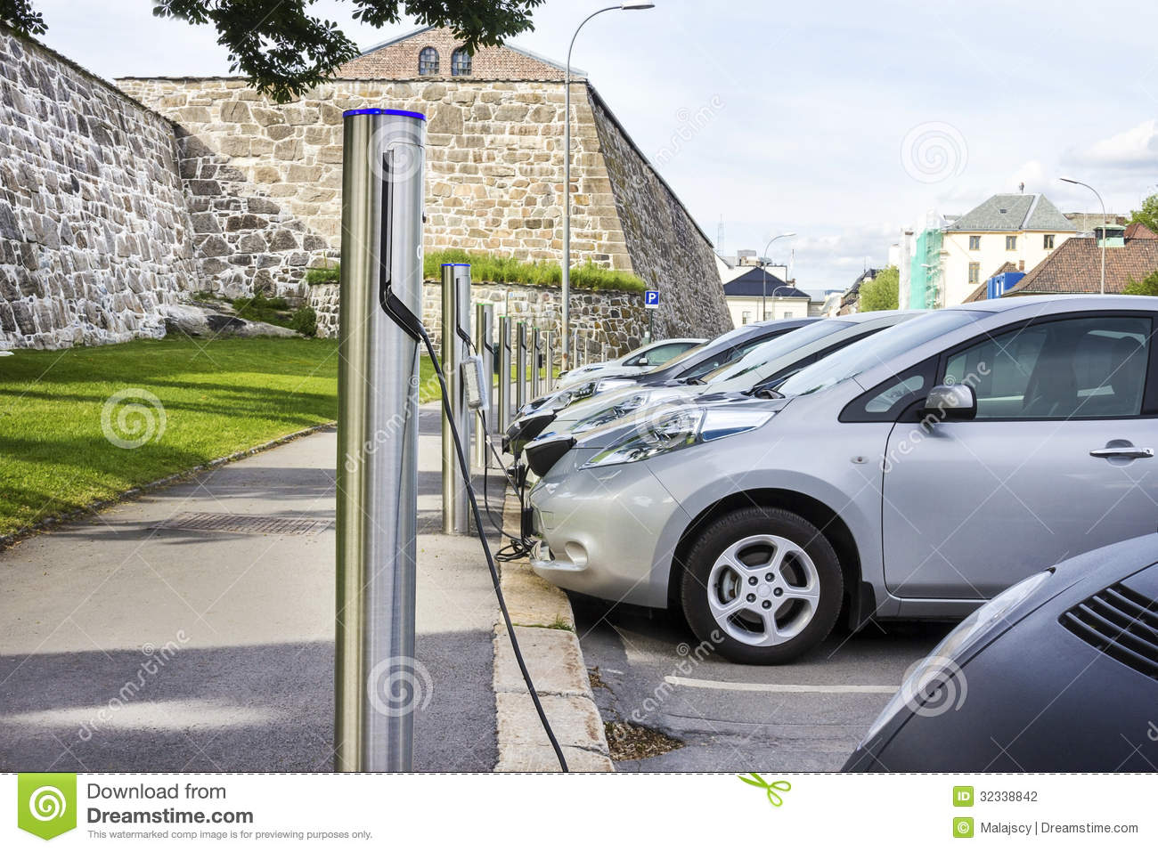 Electric Car Plugged In To Electricity Stock Photo Image Of Cable Efficiency 32338842