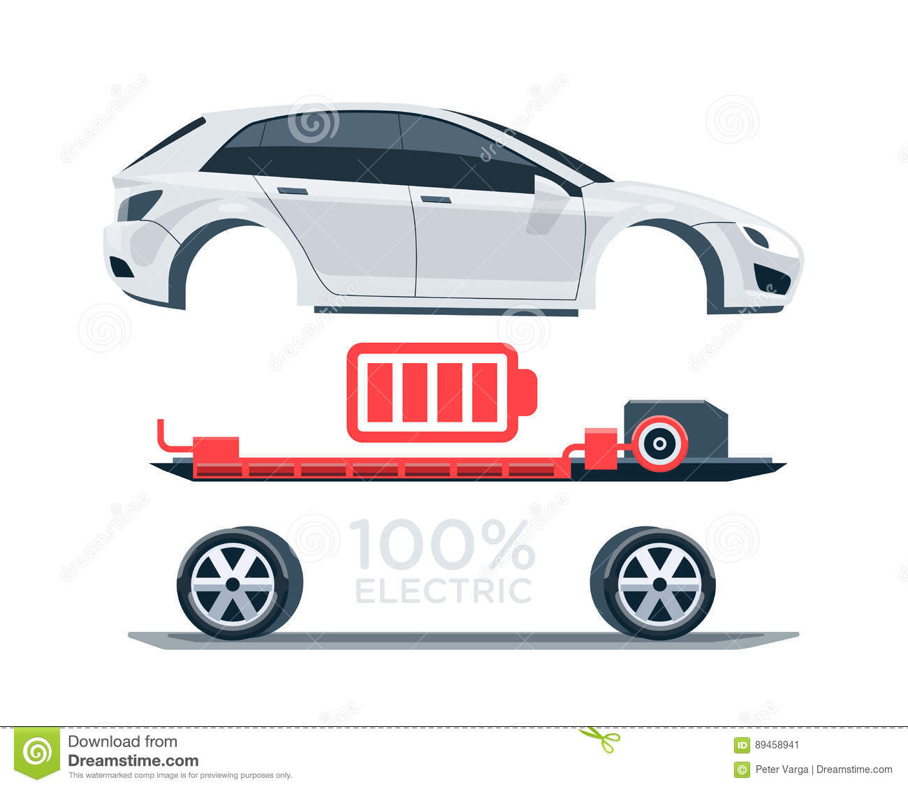 vector illustration scheme of an electric car charging at the charger  station showing electrical components like battery pack, motor, charger,  controller