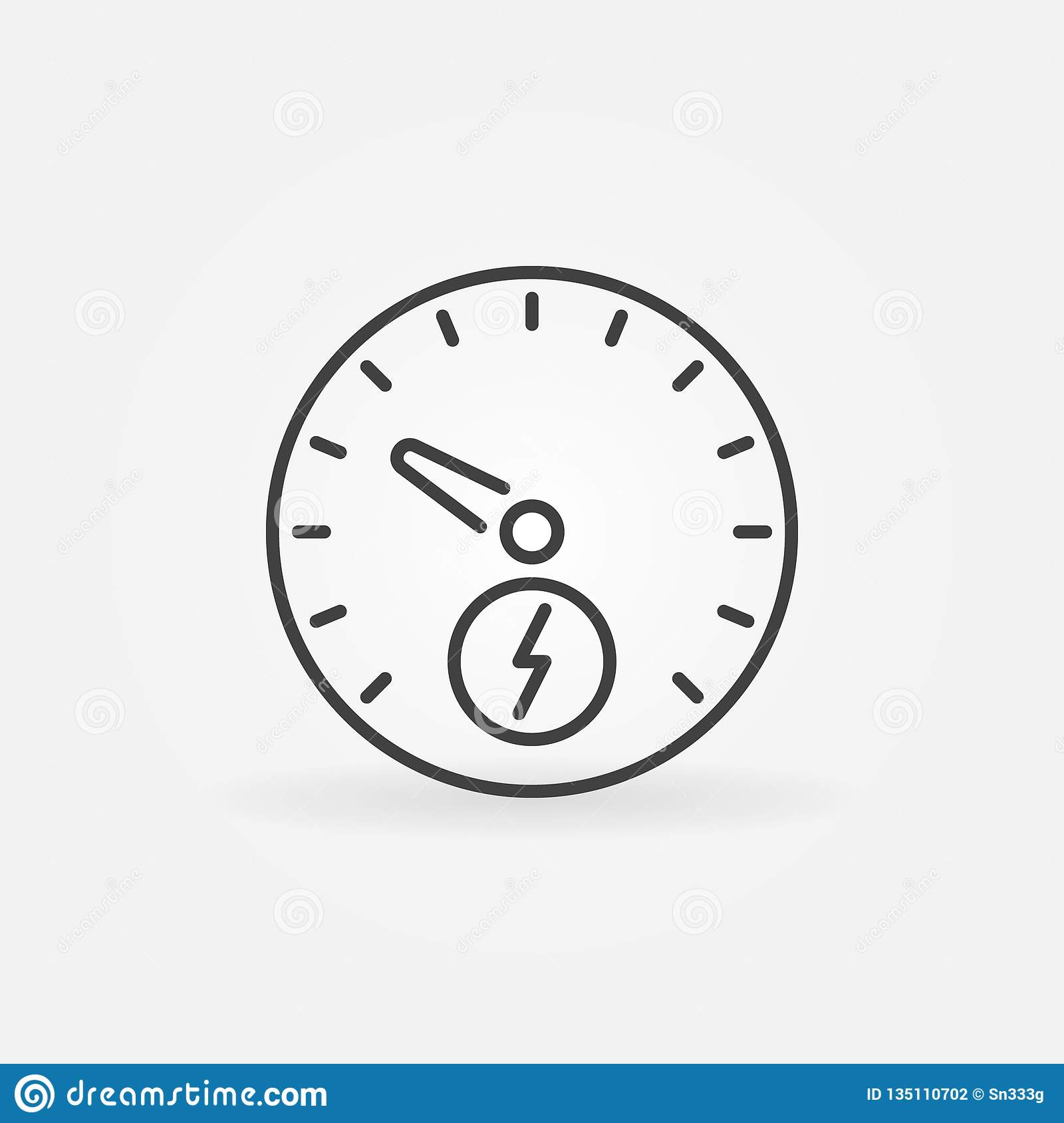 Electric Car Speedometer Vector Icon In Thin Line Style