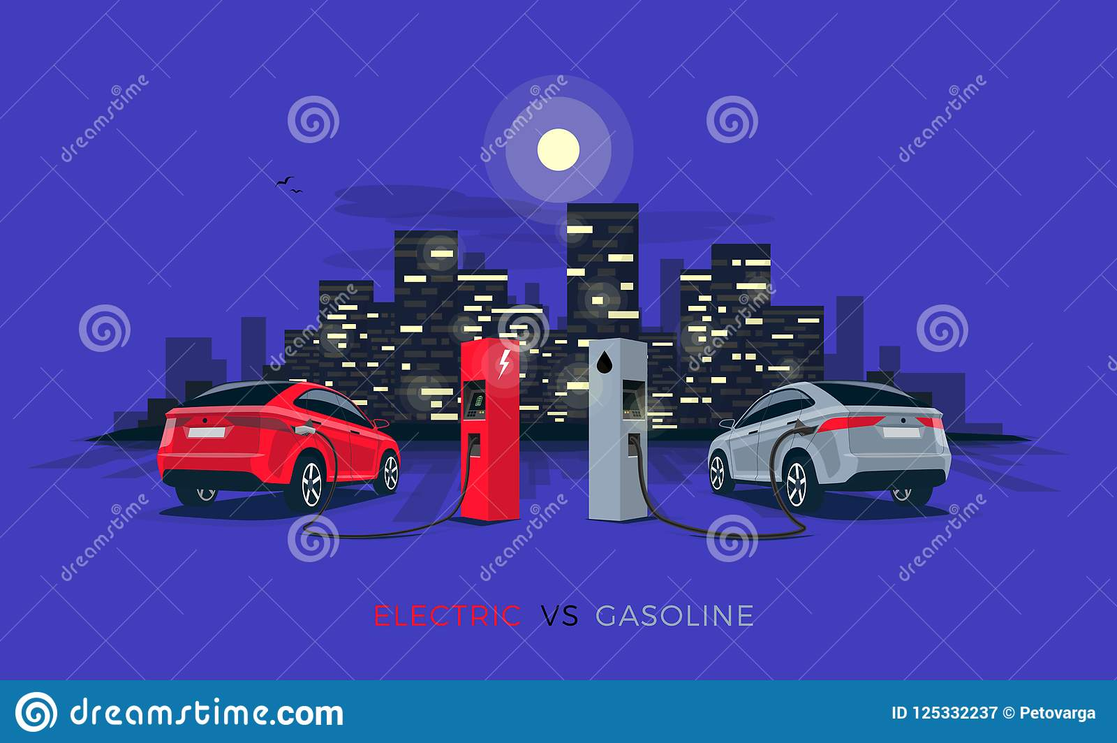 Electric Car Versus Gasoline With Night City Skyline Stock Comparison Between Cars And Download Vector Illustration Of Fossil