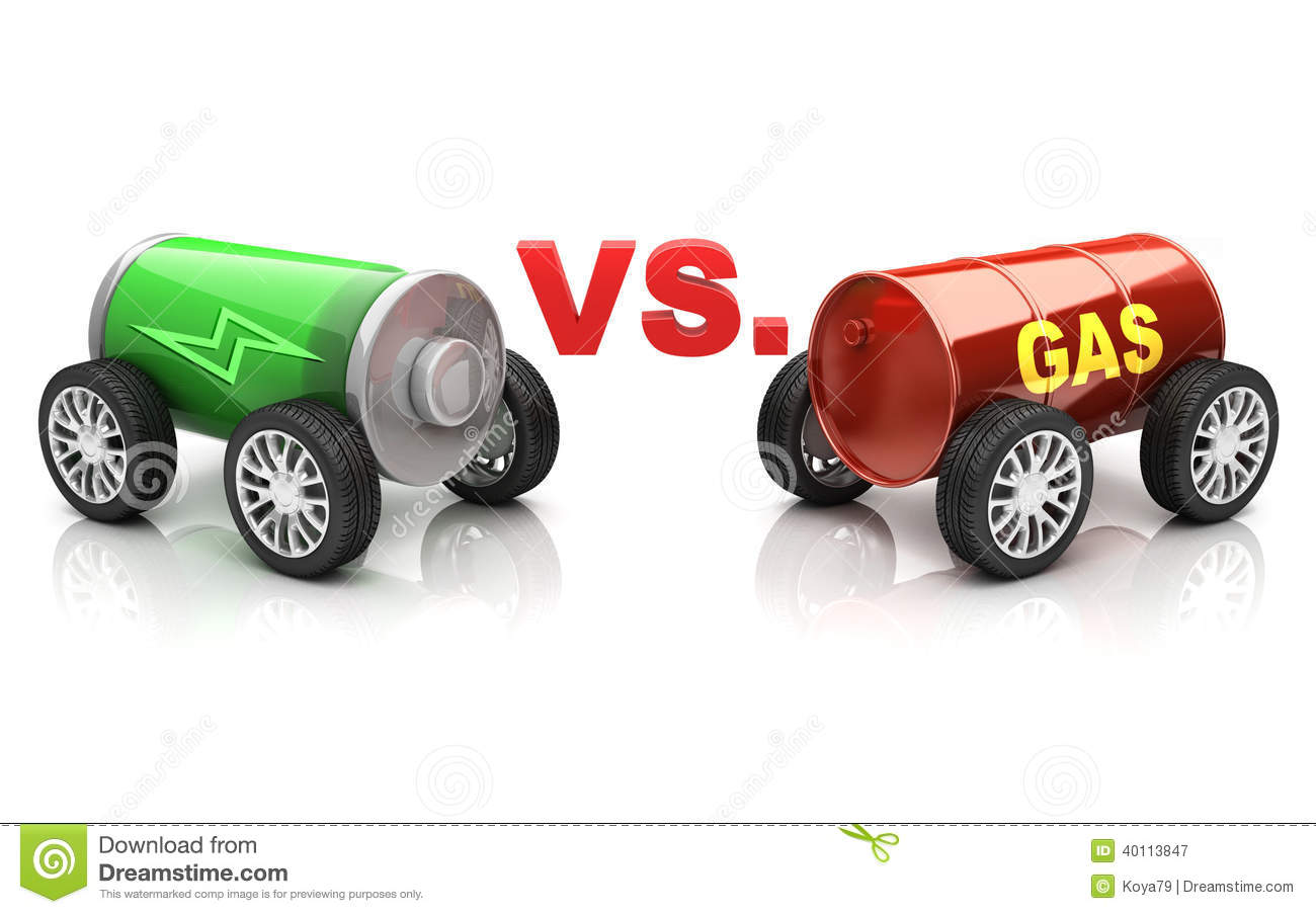 Electric Car Vs Gas Car Stock Illustration Image