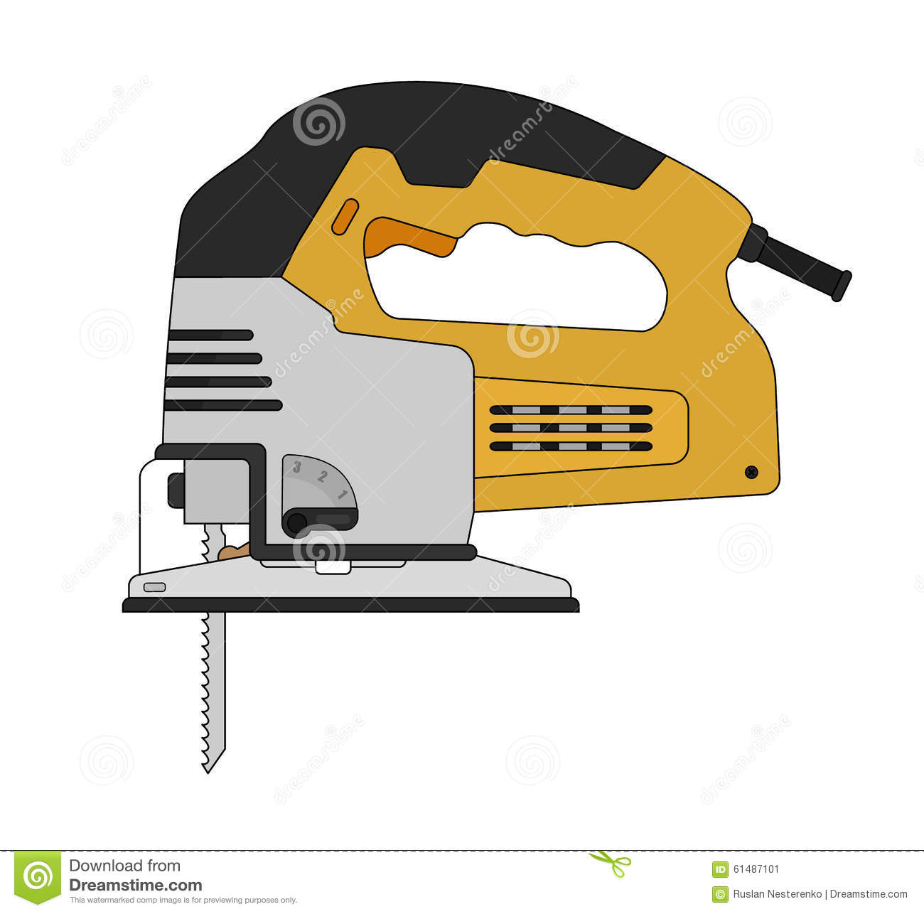 Electric Carpentry Jig Saw Tool. Color Stock Vector ...
