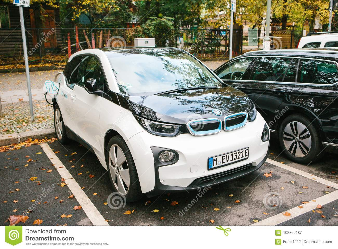 Berlin October 2 2017 Electric Cars Are Being Charged At A