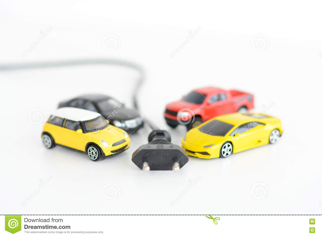 Electric Cars Concept With Many Toys Vehicles On White Background