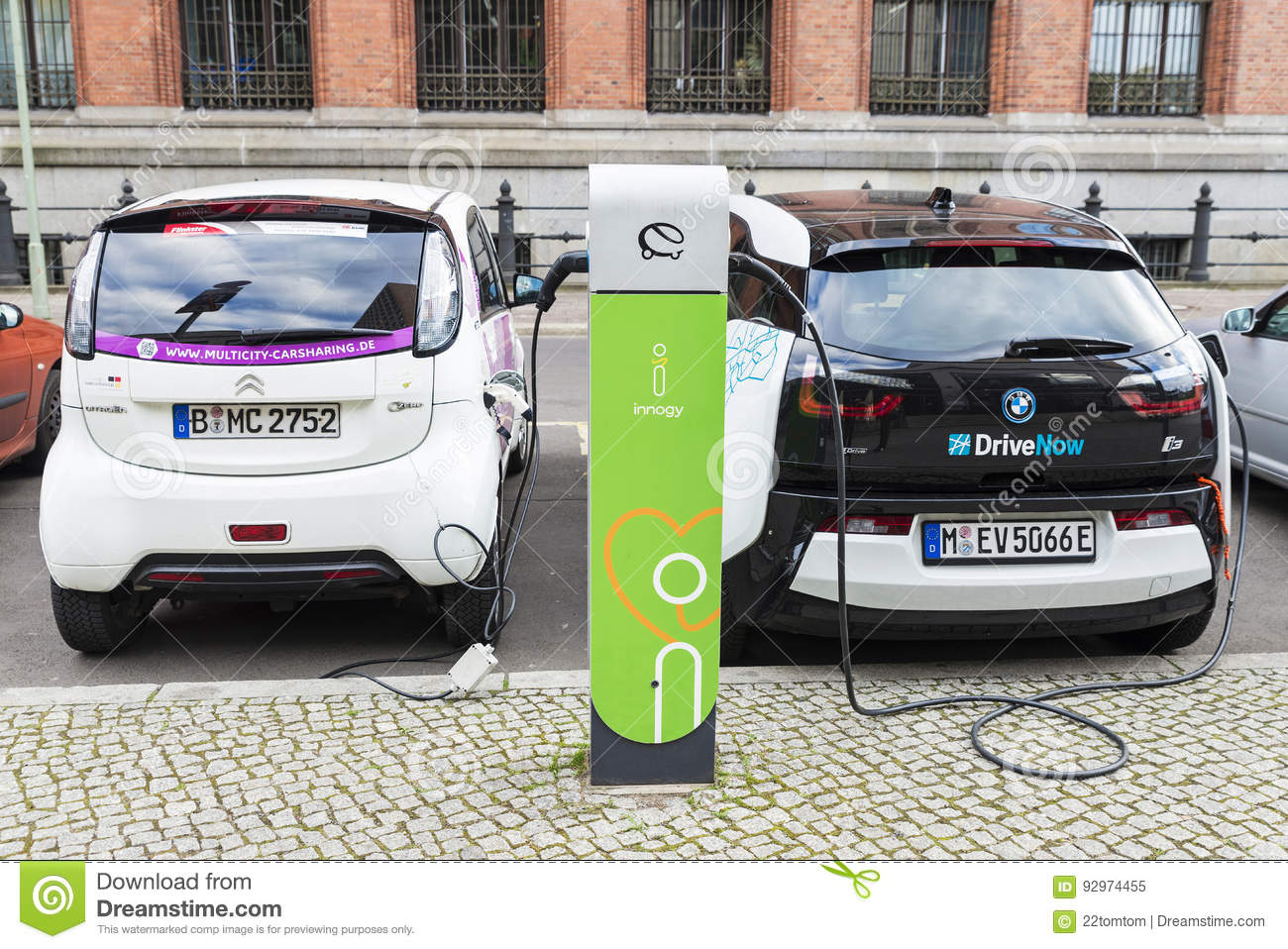 Electric Cars Recharging The Batteries In Berlin Germany Editorial