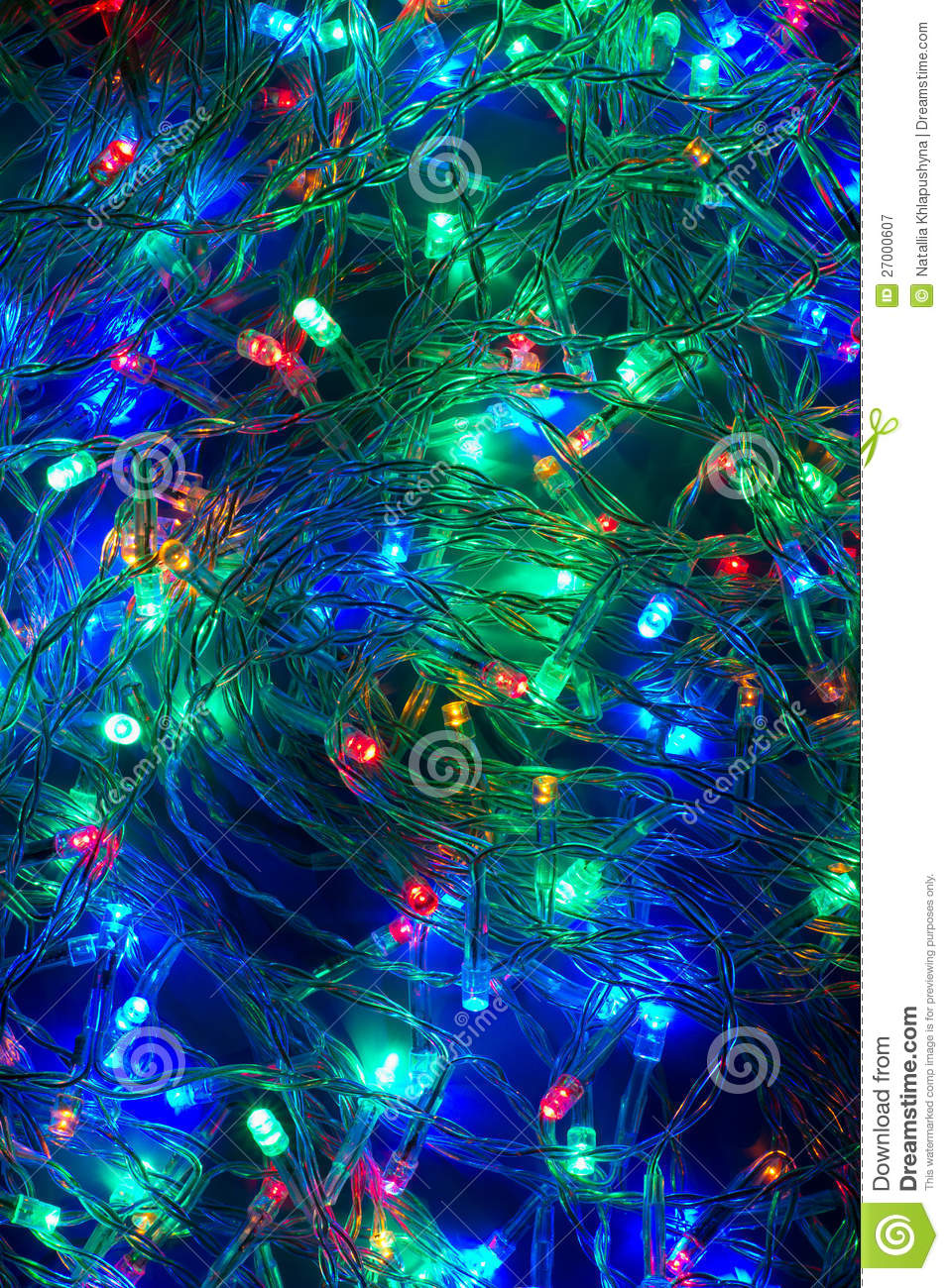 Electric Christmas Lights Background Garland Stock Image