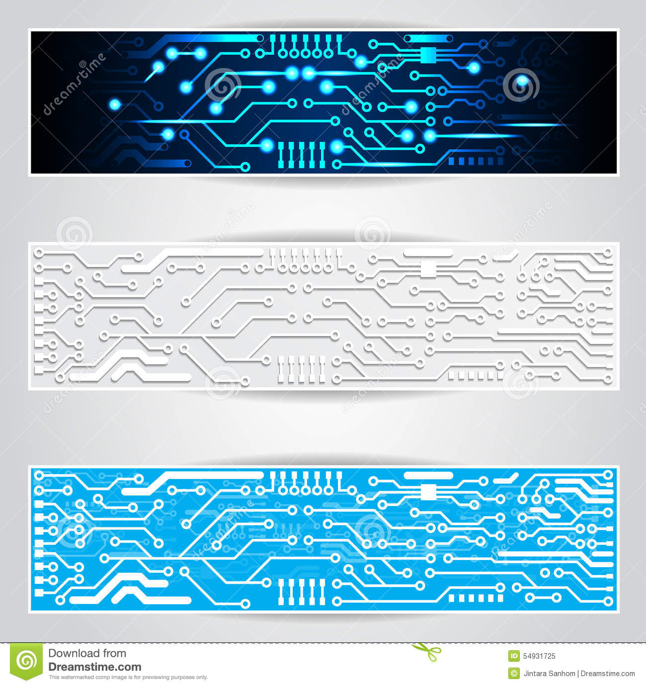 Electric Circuit Board Banner Stock Vector - Illustration of ...