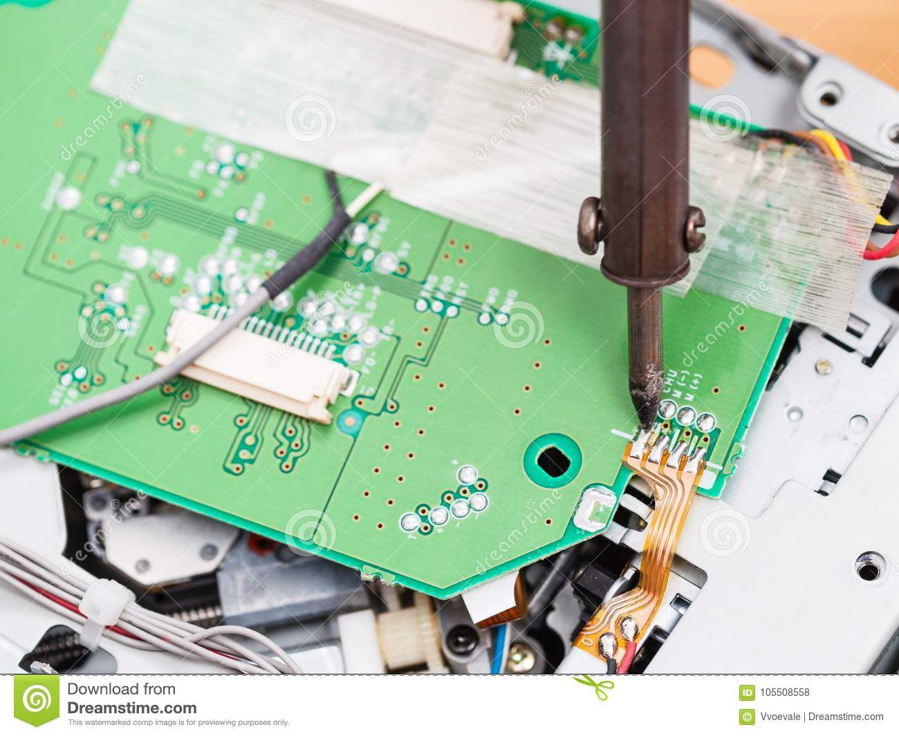 Electric Circuit Board Electrical Kids Repair With Soldering Iron Stock Photo Rh Dreamstime Com Boards For Fo