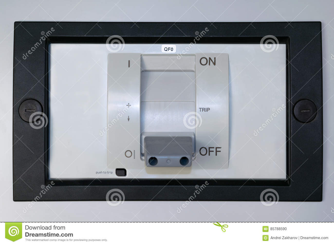Electric Circuit Breaker On The Front Panel Of The Electrical