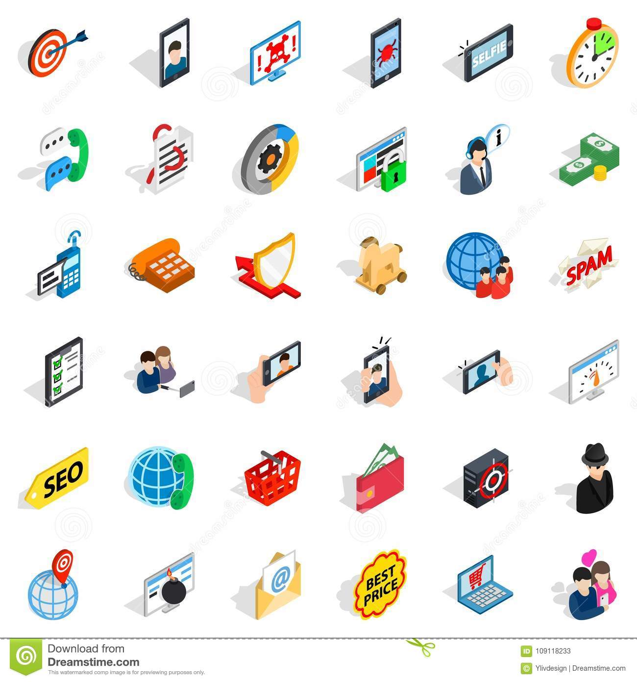 Electric Communication Icons Set Isometric Style Stock Vector Electrical Symbol Icon Isolated On A White Background