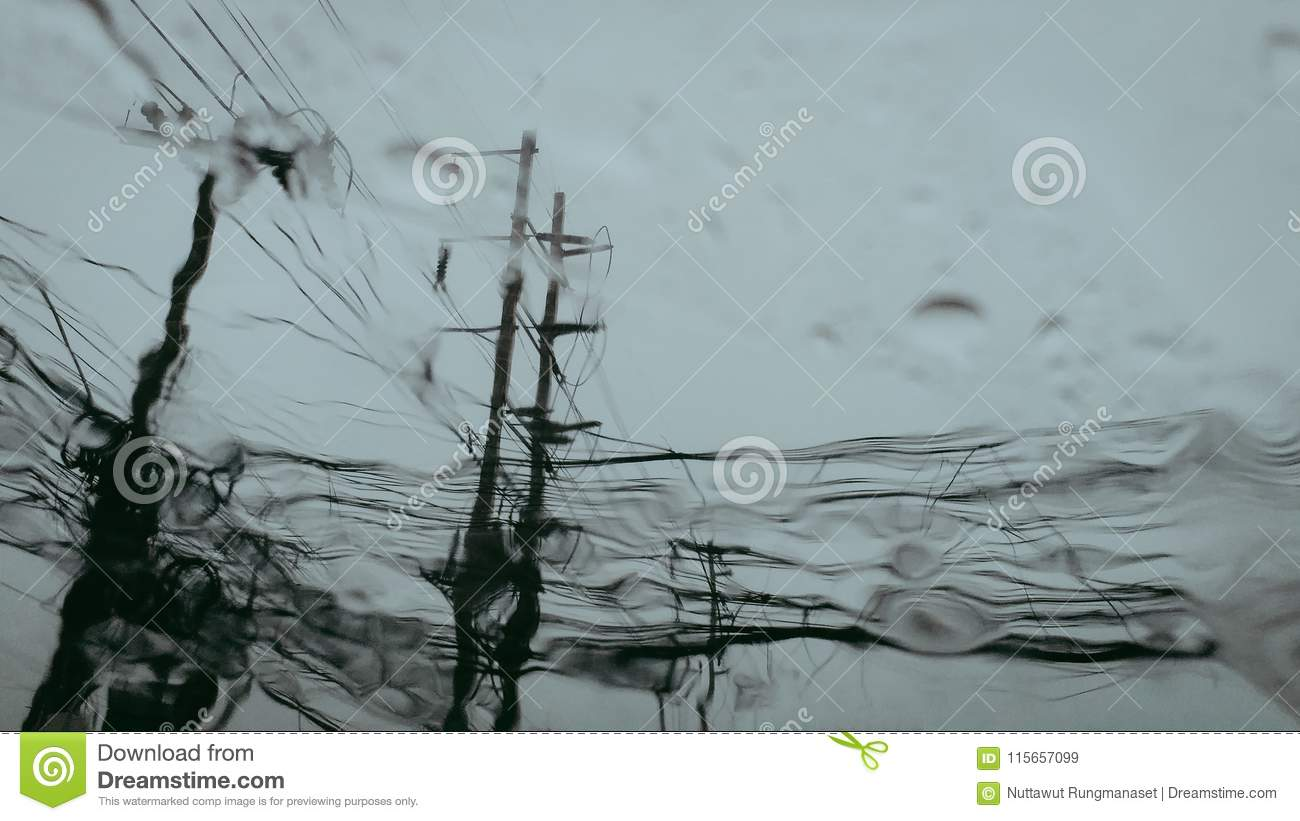 Electric Concrete Poles With A Wires When Look From The Window Of ...