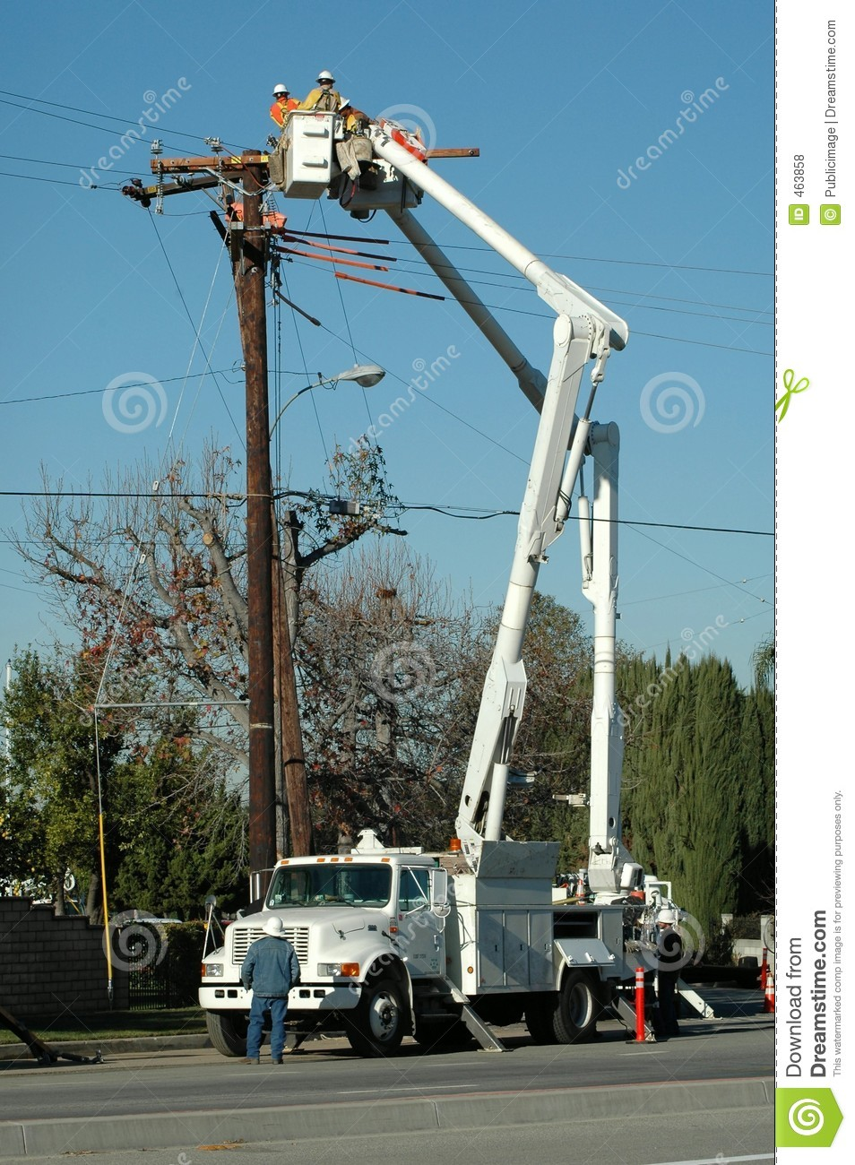 Download Electric Crew Working stock photo. Image of power, worker - 463858