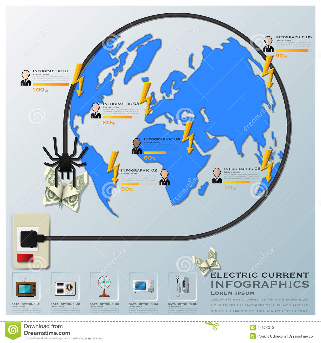 Electric Current And Equipment Earth Wire Line Business Infograp ...