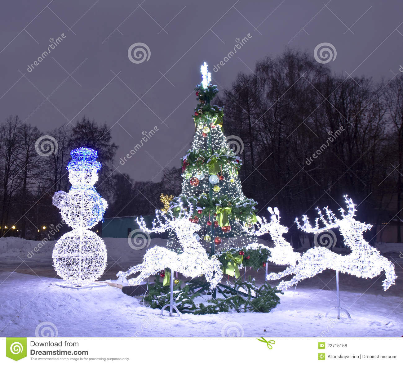 Electric Decorations And Christmas Tree, Moscow Stock