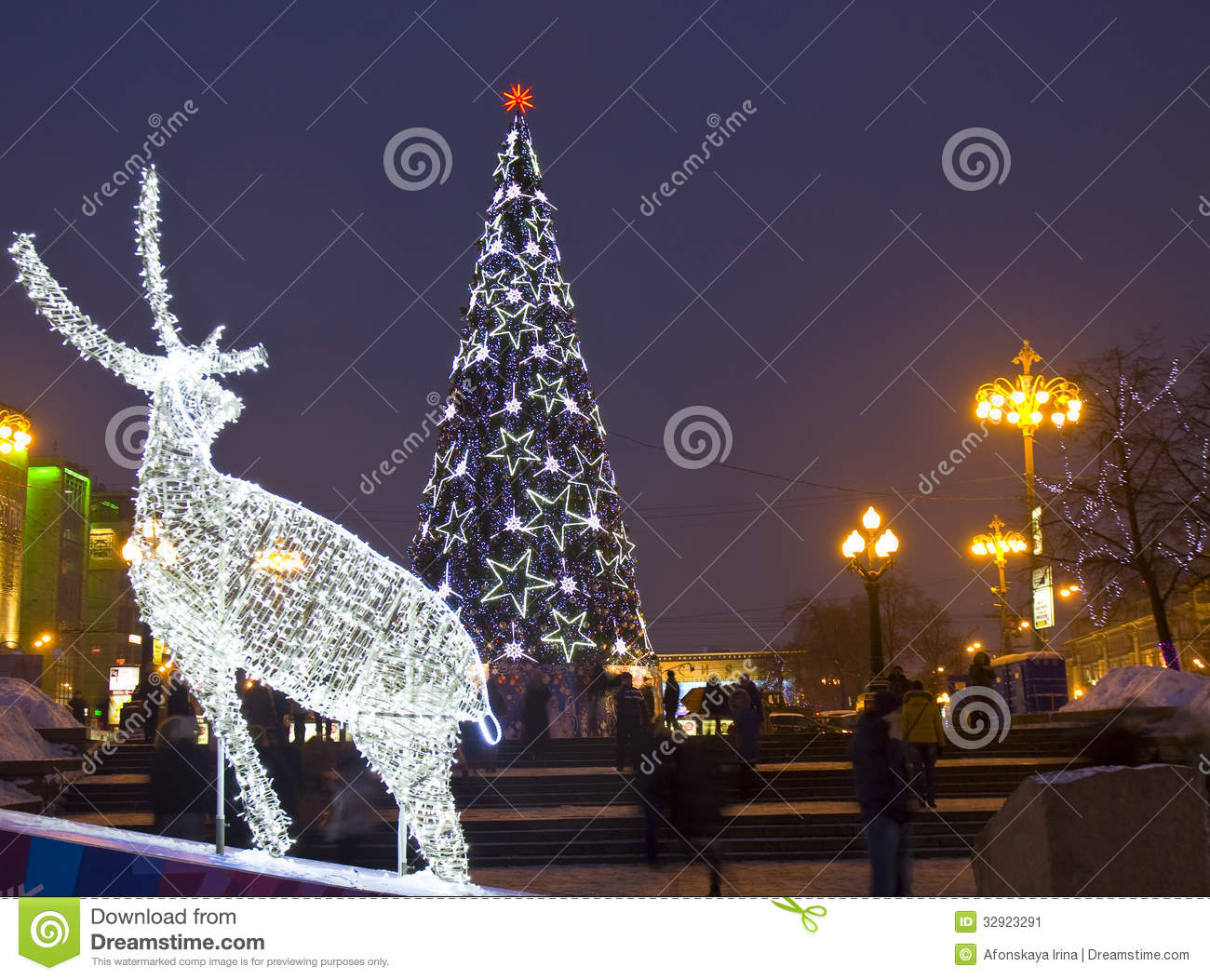 Of deer and christmas new year tree street decoration to christmas