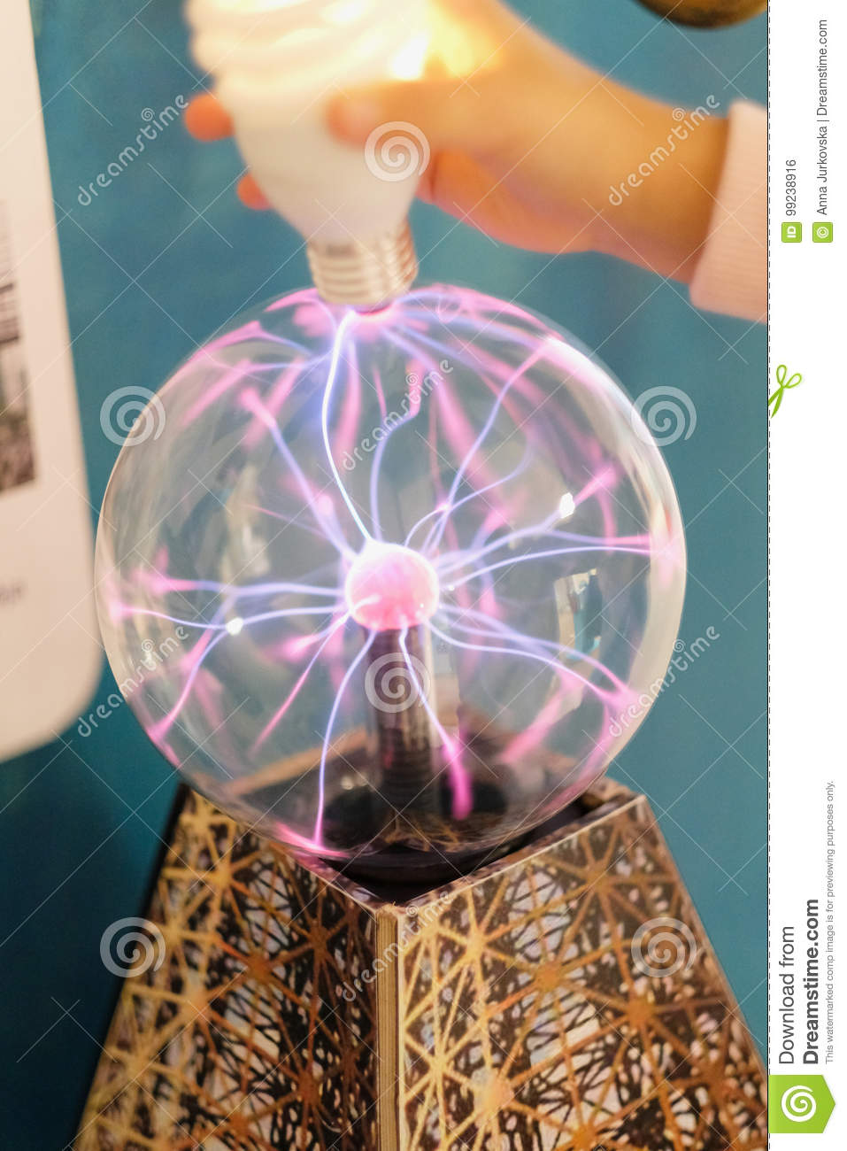 Electric Discharge In A Glass Bowl Stock Photo - Image of lightning
