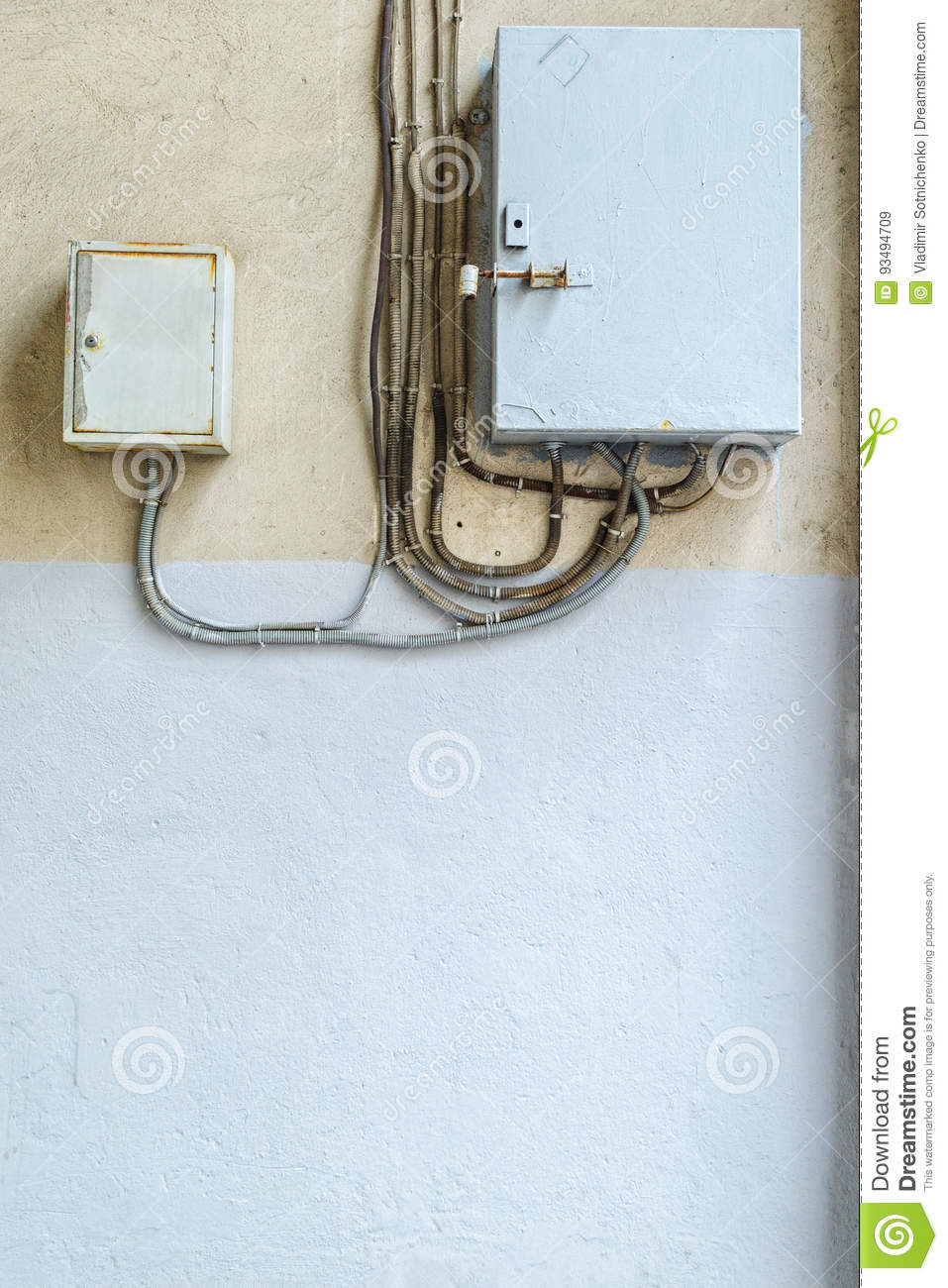 Electric Distribution Boxes On Wall Stock Image Of Home Wiring Box