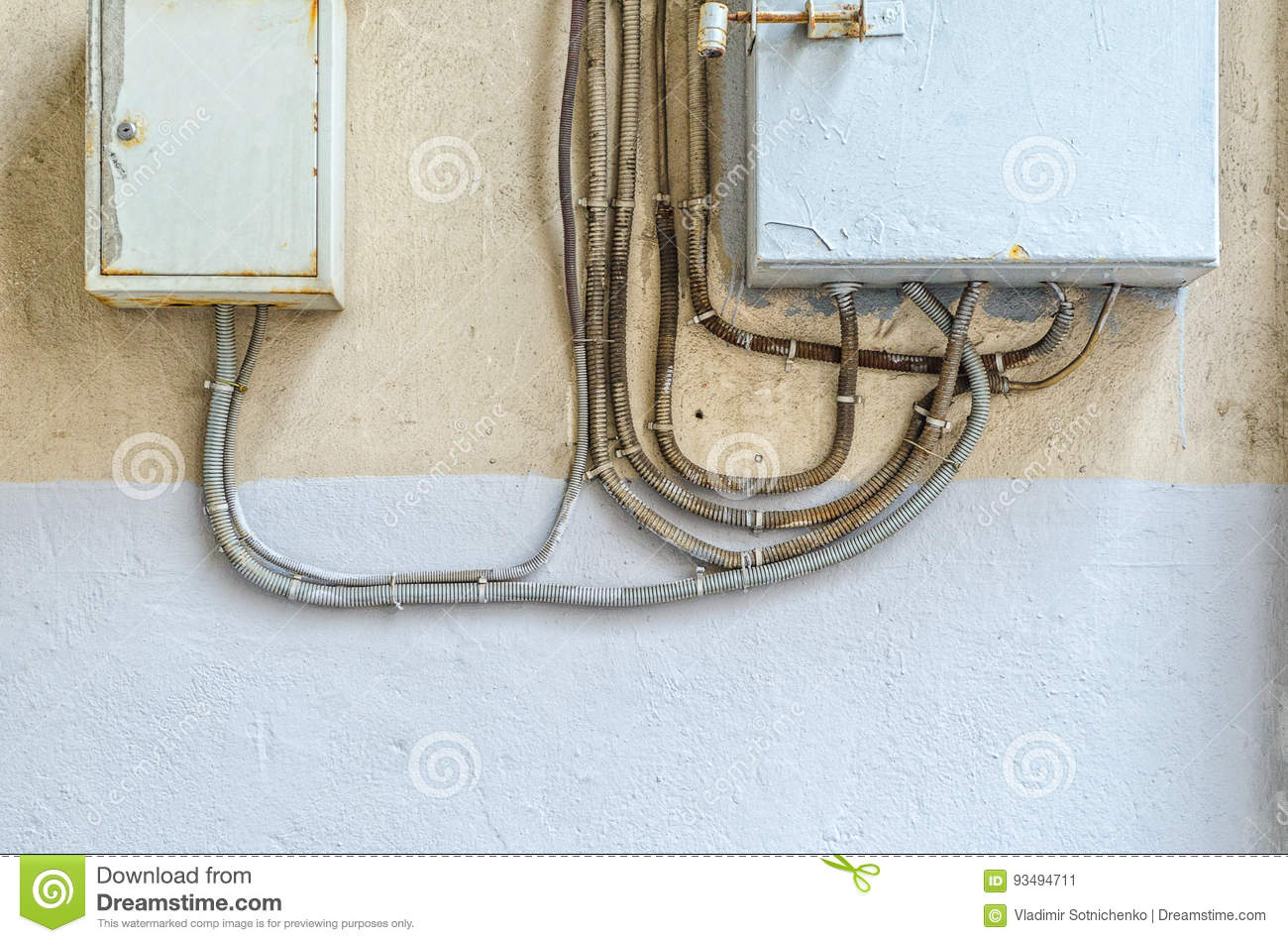 Sensational Electric Distribution Boxes On Wall Stock Image Image Of Detailed Wiring Digital Resources Remcakbiperorg