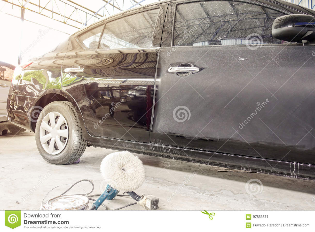 Auto Body Repair Shop >> Electric Drill For Car Body Color Polish Stock Image Image