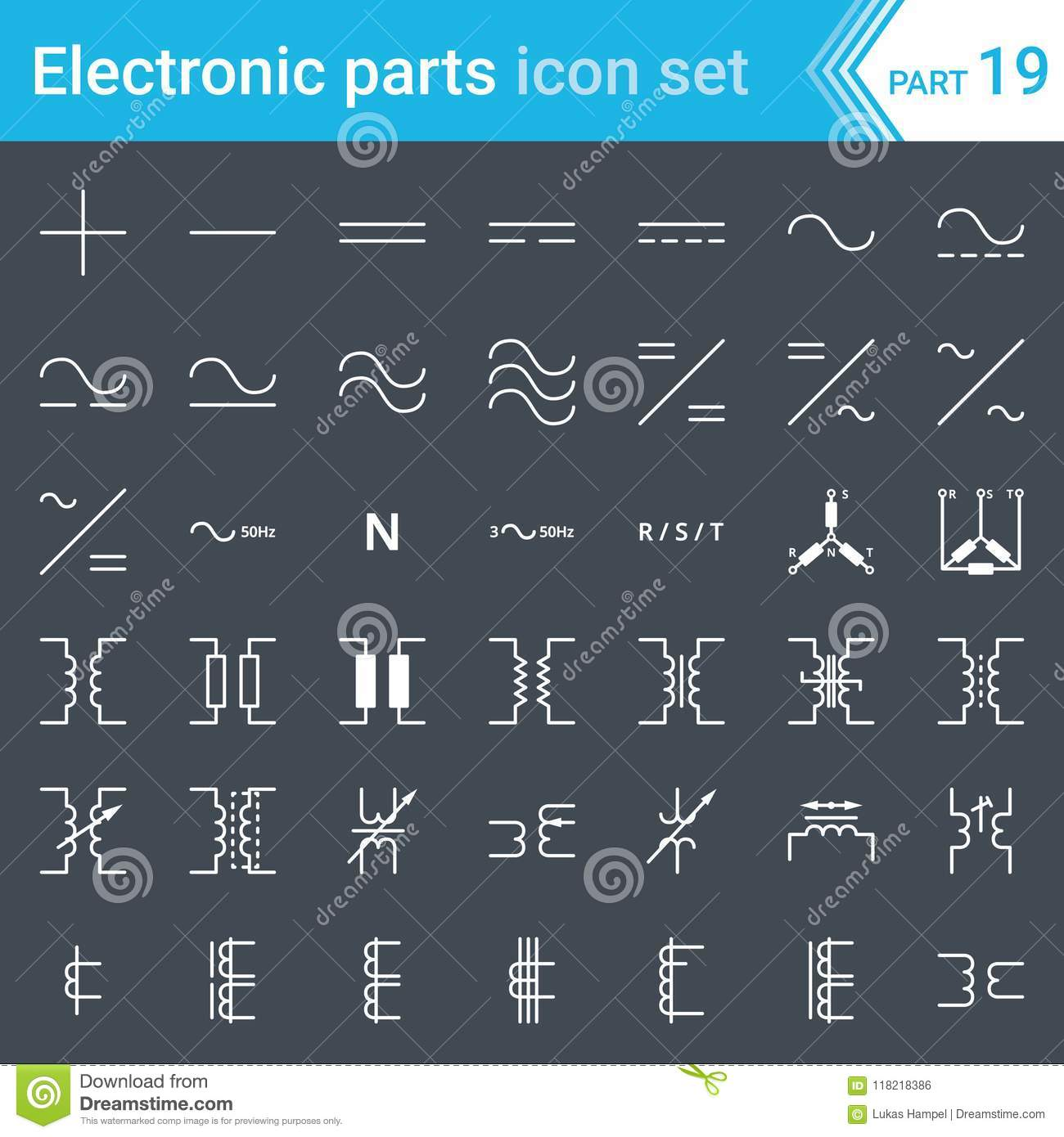 Electric And Electronic Icons Electric Diagram Symbols Current