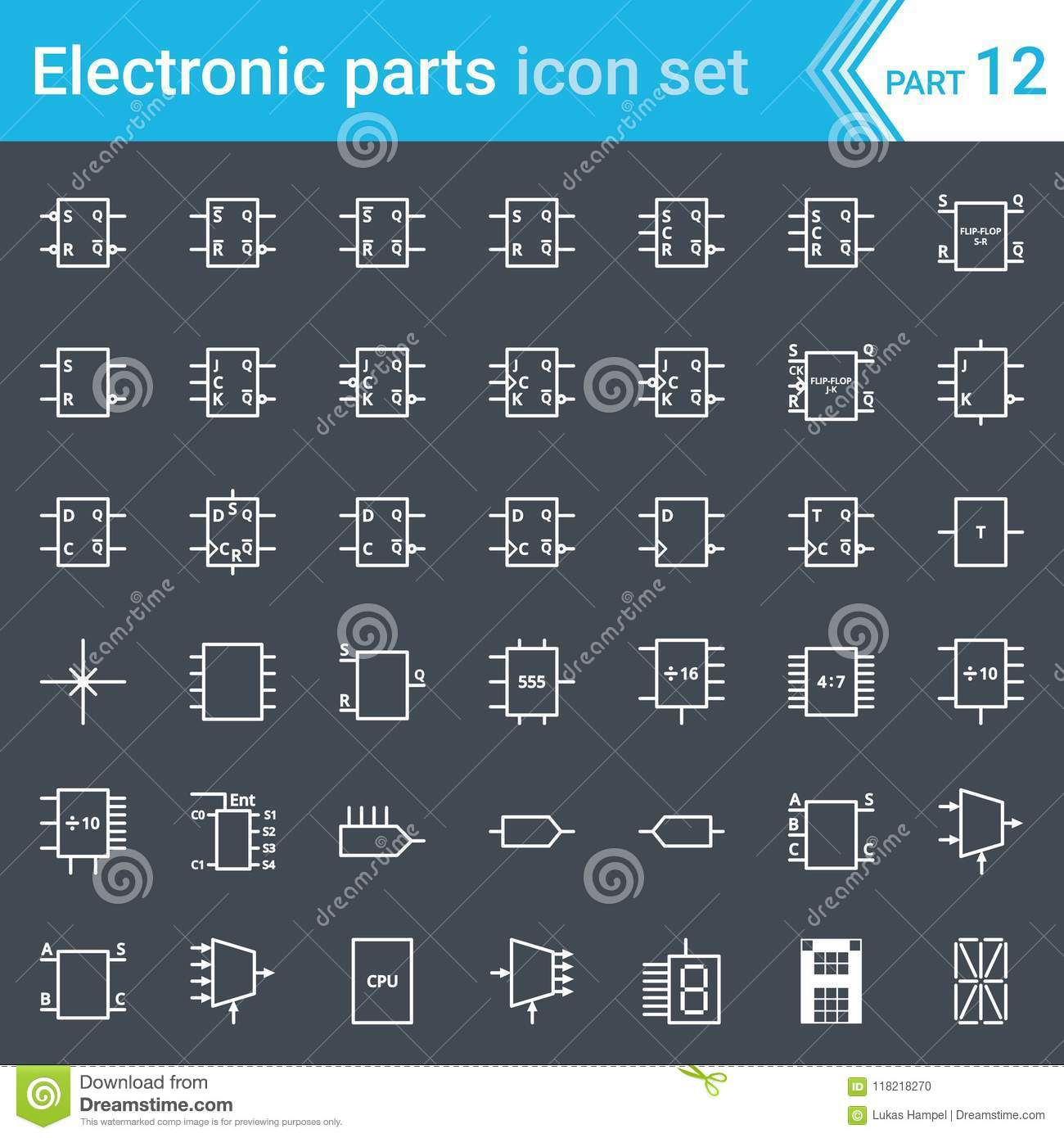 electric and electronic icons, electric diagram symbols  digital electronics,  flip-flop, logic circuit, display, programming